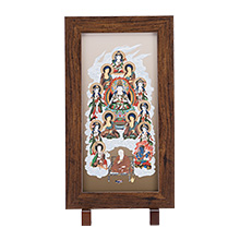 コンパクト真言十三仏掛軸 大師入りスタンド型(木製額表装)