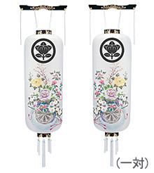 家紋入盆提灯対柄 博多長 御所車 手書き絵 松9995-1