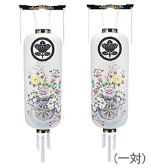 家紋入盆提灯対柄 博多長 御所車 手書き絵 桜9996-1