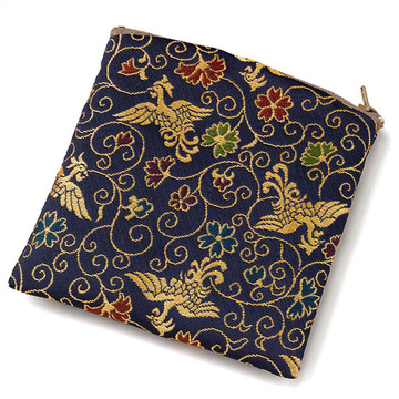 数珠袋(念珠入れ) ポーチ型 金襴 鳳凰