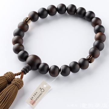数珠 男性用 縞黒檀(艶消) 2天茶水晶 22玉