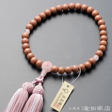 数珠 女性用 紅桜 ローズクォーツ桜彫り 8mm玉