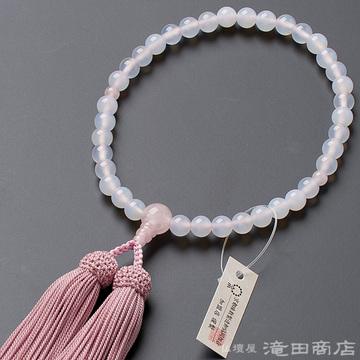 数珠 女性用 白メノウ 紅水晶仕立 7mm玉