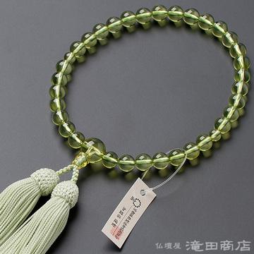数珠 女性用 グリーンアンバー(グリーン琥珀) 8mm玉