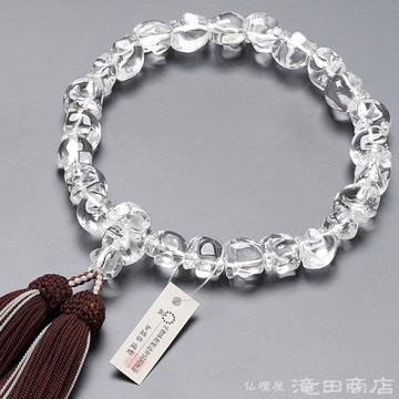数珠 男性用 本水晶 骸骨彫り 22玉