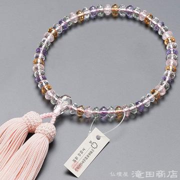 数珠 女性用 ミックスクオーツ スターシェイプカット