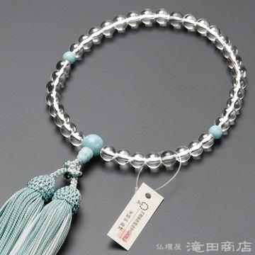 数珠 女性用 本水晶 ラリマー仕立 7mm玉