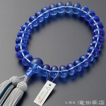 数珠 男性用 ブルー水晶 みかん玉 27玉