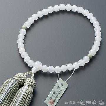 数珠 女性用 白オニキス 2天独山玉 7mm玉