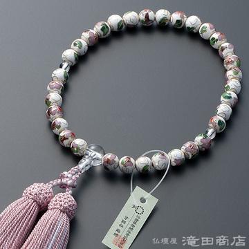 数珠 女性用 七宝焼(白) 本水晶仕立 8mm玉