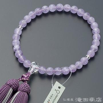 数珠 女性用 紫雲石 カット本水晶仕立 8mm玉