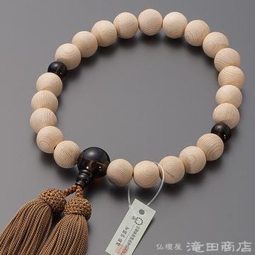 数珠 男性用 木曽桧「官材(かんざい)」 茶水晶仕立 22玉
