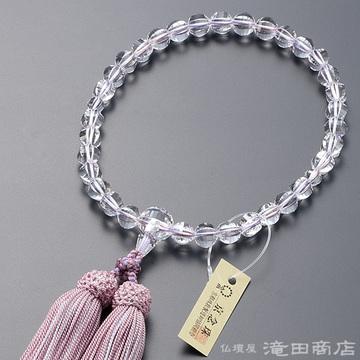 数珠 女性用 本水晶 ステップカット