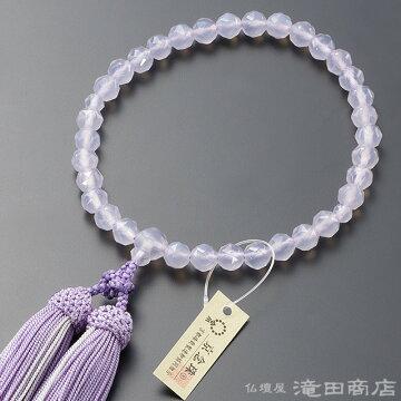 数珠 女性用 パープル瑪瑙 ジュエリー切子カット