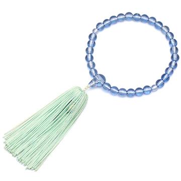 数珠 子供用 ガラス製サファイア