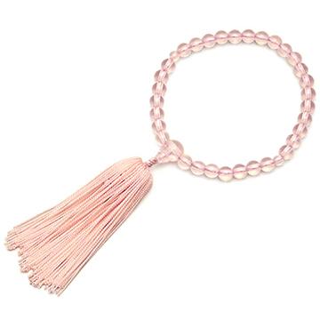 数珠 子供用 ガラス製セピアピンク
