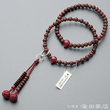 浄土宗 本式数珠 女性用 紫檀(艶消) メノウ仕立 六万浄土8寸