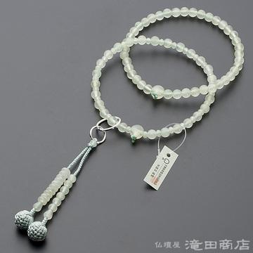 浄土宗 本式数珠 女性用 グリーンオニキス 六万浄土8寸
