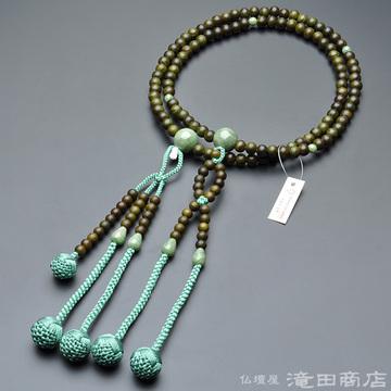 日蓮宗 本式数珠 男性用 緑檀 独山玉仕立 尺2