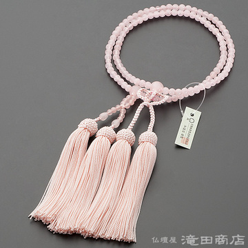 浄土真宗 本式数珠 女性用 紅水晶 8寸