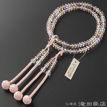 真言宗 本式数珠 女性用 ミックスクオーツ スターシェイプカット 8寸