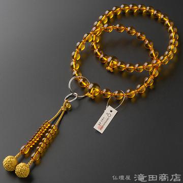 浄土宗 本式数珠 男性用 本琥珀 三万浄土9寸