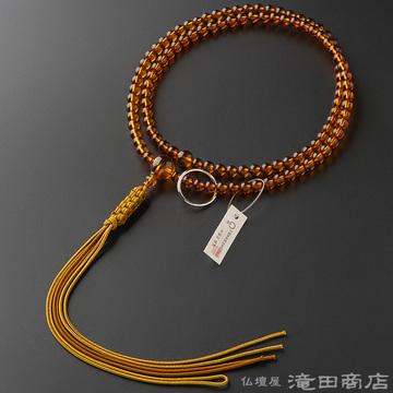 曹洞宗 本式数珠 男性用 本琥珀 尺2