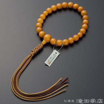 浄土真宗 本式数珠 男性用 老琥珀(蝋琥珀) 22玉