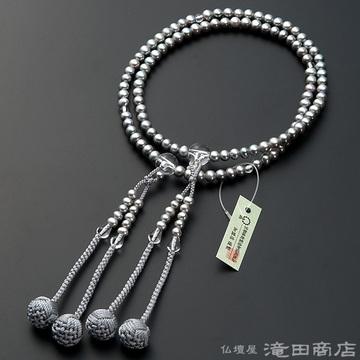 真言宗 本式数珠 女性用 淡水パール(グレーカラー) 本水晶仕立 8寸