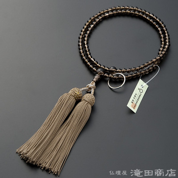 曹洞宗 本式数珠 女性用 茶水晶 8寸