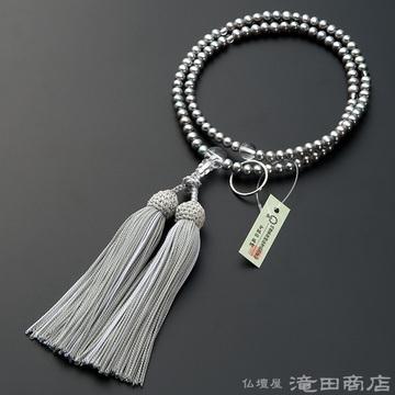 曹洞宗 本式数珠 女性用 淡水パール(グレーカラー) 本水晶仕立 8寸