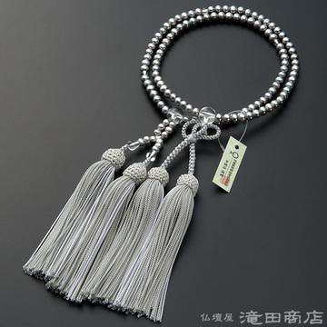 浄土真宗 本式数珠 女性用 淡水パール(グレーカラー) 本水晶仕立 8寸