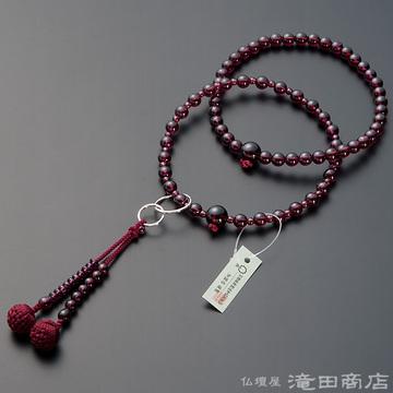 浄土宗 本式数珠 女性用 ガーネット 六万浄土8寸