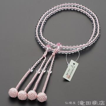 真言宗 本式数珠 女性用 本水晶 桜彫り 8寸