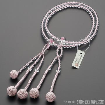 日蓮宗 本式数珠 女性用 本水晶 桜彫り 8寸