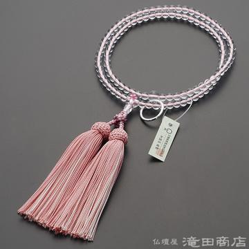 曹洞宗 本式数珠 女性用 本水晶 桜彫り 8寸