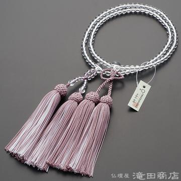 浄土真宗 本式数珠 女性用 本水晶 8寸 (2色房)(灰桜色/白色)