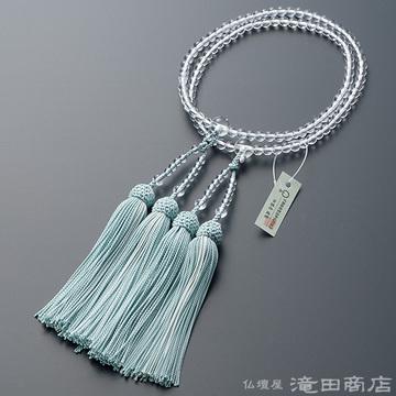 八宗用(八宗兼用)本式数珠 女性用 本水晶 8寸 (2色房)(藍白色/白色)
