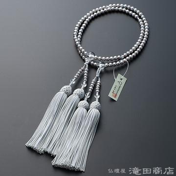 八宗用(八宗兼用)本式数珠 女性用 淡水パール(グレーカラー) 本水晶仕立 8寸