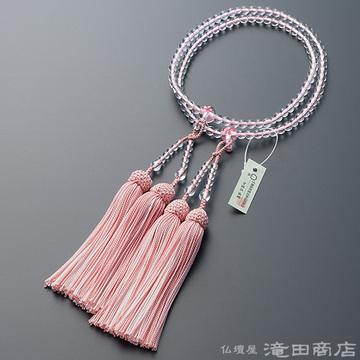 八宗用(八宗兼用)本式数珠 女性用 本水晶 桜彫り 8寸