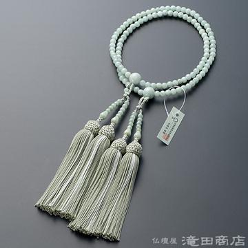 八宗用(八宗兼用)本式数珠 女性用 ビルマ翡翠(本ヒスイ) 8寸