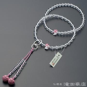 浄土宗 本式数珠 女性用 本水晶 桜彫り 六万浄土8寸