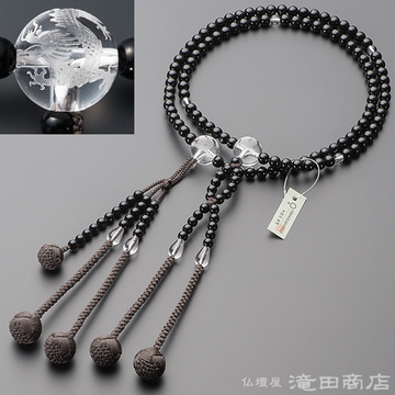 日蓮宗 本式数珠 男性用 黒オニキス 龍彫り本水晶 尺2