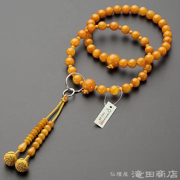 浄土宗 本式数珠 男性用 老琥珀 三万浄土9寸 鑑別書付き