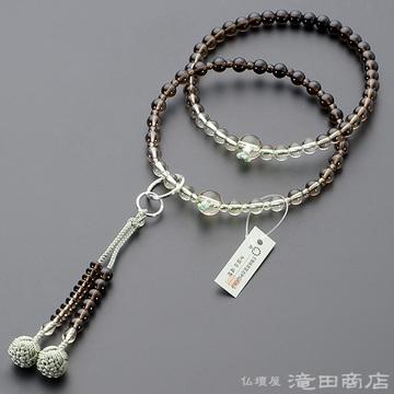 浄土宗 本式数珠 女性用 茶水晶 グラデーション 六万浄土8寸