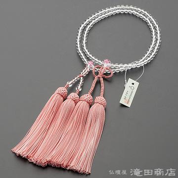 浄土真宗 本式数珠 女性用 本水晶 桜彫り 8寸