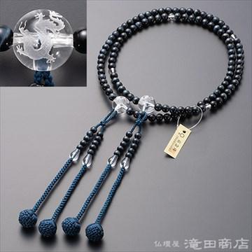 真言宗 本式数珠 男性用 青虎目石 龍彫り本水晶 尺2