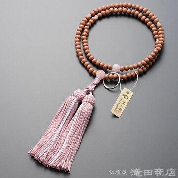 曹洞宗 本式数珠 女性用 紅桜 ローズクォーツ桜彫り 8寸