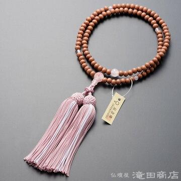 臨済宗 本式数珠 女性用 紅桜 ローズクォーツ桜彫り 8寸