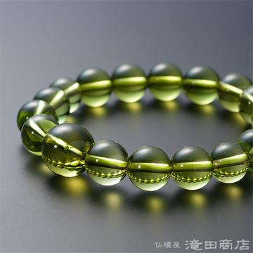 特選腕輪念珠 鑑別書付き グリーンアンバー(グリーン琥珀) 12ミリ玉
